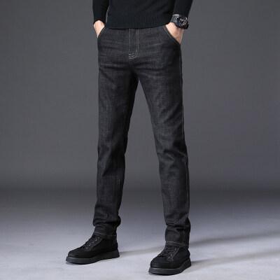 黑色牛仔裤男春秋款修身直筒潮牌长裤休闲弹力秋季男士裤子冬