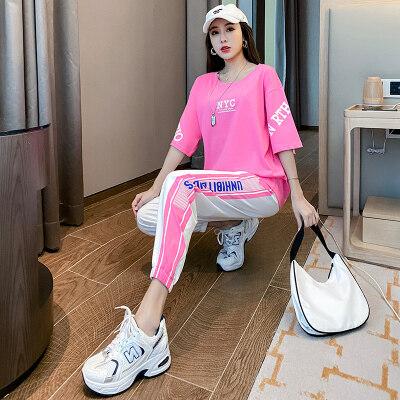 夏季新品女士套装时尚宽袖T恤女舒适长裤松紧裤运动休闲女装宽松