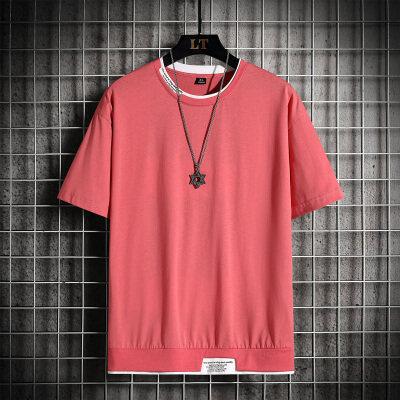 光板纯棉短袖休闲T恤男2021夏季纯色公版空板黑白t恤衫