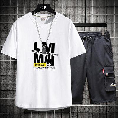 龙麦夏季新款男士纯棉短袖LMMAI字母套装TZ9196