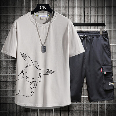 龙麦夏季新款男士纯棉短袖线条皮卡丘套装TZ9197
