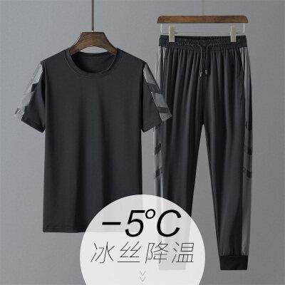 2021 新款男冰丝裤束脚九分裤T恤两件套装休闲运动套装