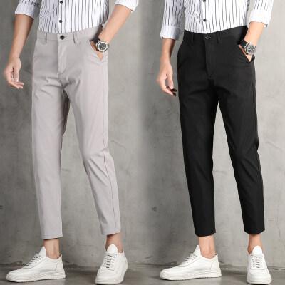 春夏季男士西裤冰丝休闲薄款修身小脚九分西装2020新款黑色长裤子