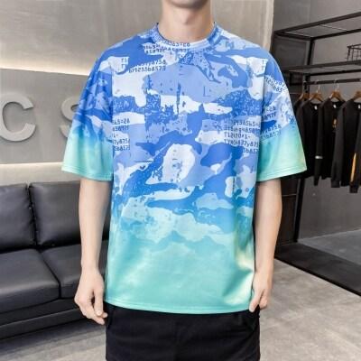 夏季男士t恤短袖宽松圆领大码青年印花薄款衣服体恤衫男t血