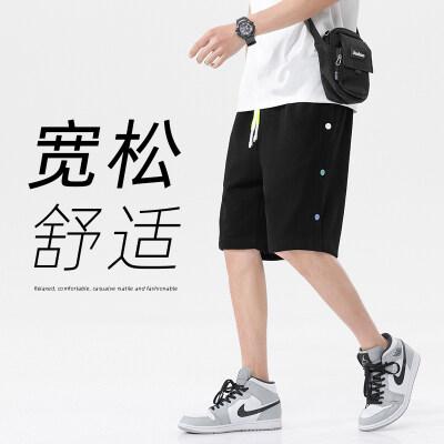 短裤男夏季薄款潮牌潮流嘻哈宽松纽扣排扣灰色休闲运动五分裤