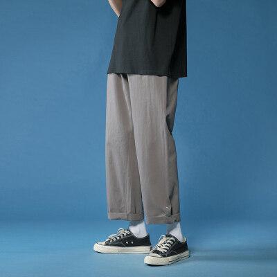 休闲裤男士春夏季新款简约百搭直筒排扣长裤青少年小西裤男生长裤