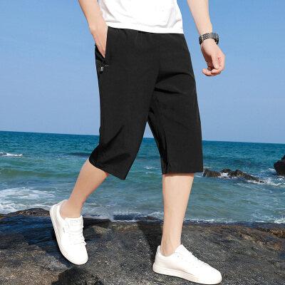 短裤男2021新款夏七分裤韩版潮流束脚运动宽松学生青年休闲裤
