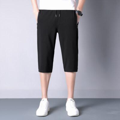 七分裤男夏季宽松休闲中裤高弹力韩版潮流冰丝7分短裤男