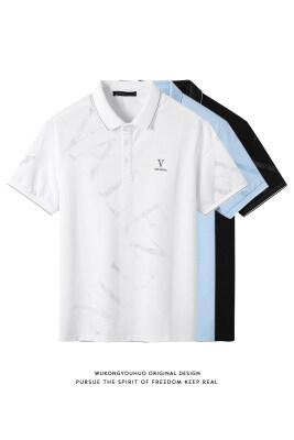 夏季新款潮牌印花短袖t恤男冰丝纯棉宽松圆领体恤跑量Polo衫