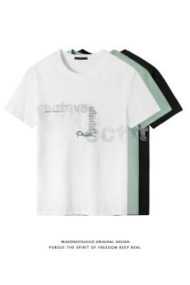 夏季新款潮牌印花短袖t恤男冰丝纯棉宽松圆领体恤跑量打底衫