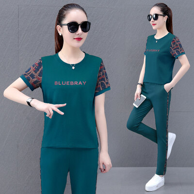 休闲运动套装女2021夏季潮流时尚韩版显瘦减龄短袖长裤两件套