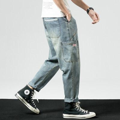 凯勒布日系潮流大口袋哈伦牛仔裤