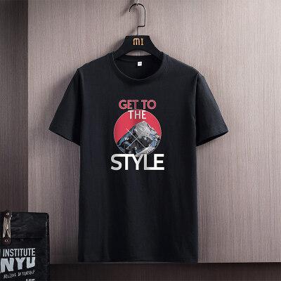 2021新款夏季青年简约休闲T恤男短袖圆领个性短T宽松帅气