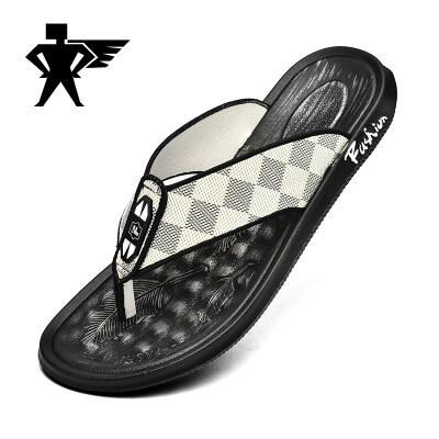 夏季新款人字拖潮流时尚新款室外拖鞋舒适家居鞋耐磨英伦劲霸潮鞋
