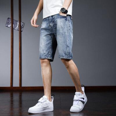 夏季薄款高弹力5分牛仔短裤男修身直筒弹力五分中裤子