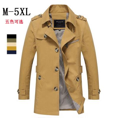 B522秋季风衣男中长款英伦男士休闲大码胖子外套翻领百搭夹克