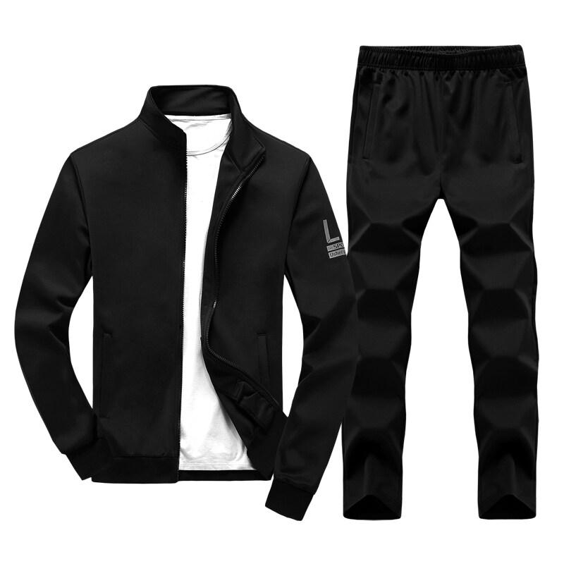 跨境男士运动休闲套装2018新款秋季装两件套时尚男装运动套装