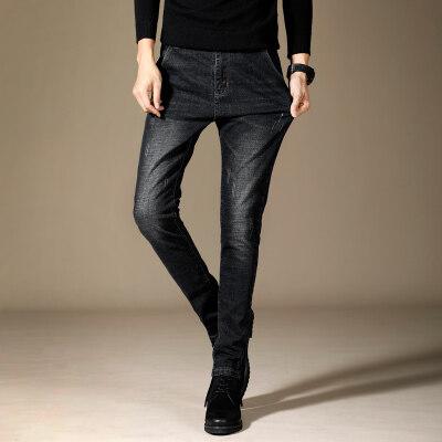 男士牛仔裤男弹力直筒韩版修身潮流小脚休闲百搭长裤