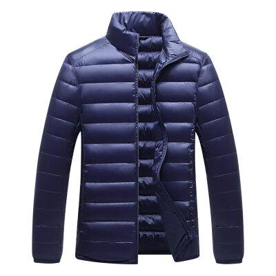 秋冬新款时尚立领外套男士轻薄羽绒服短款潮流休闲百搭90白鸭绒