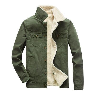 秋冬新款水洗夹克男装加绒加厚保暖外套跨境货源