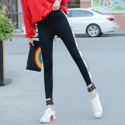 黑色小脚裤女韩版修身显瘦学生拼接织带高腰弹力九分裤瑜伽打底裤