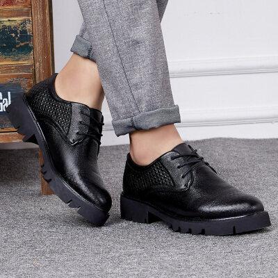 头层牛皮男鞋子秋季男士商务皮鞋男黑色休闲内增高真皮正装韩版