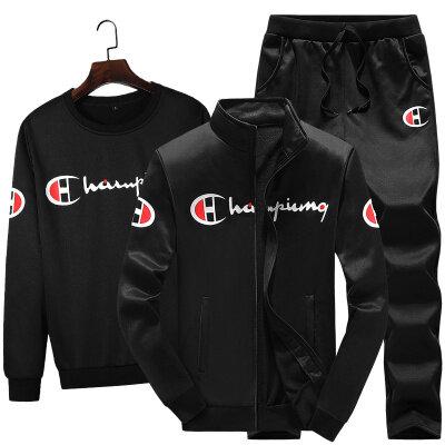 跨境新款运动套装男春秋卫衣男士外套冬季韩版潮版冠军三件套