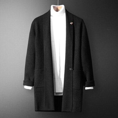 2019新款毛衣男秋冬季毛呢风衣男中长呢子大衣外套帅尼子大衣