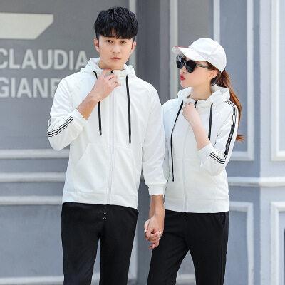春秋季男士连帽大码白色卫衣情侣套装女纯黑色运动休闲套装跑步服