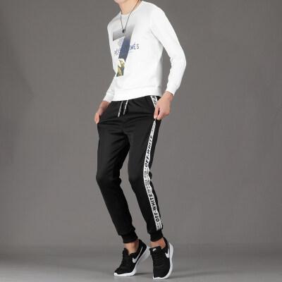秋季套头男士七字套装青少年帅气一套休闲卫衣学生衣服韩版潮流款