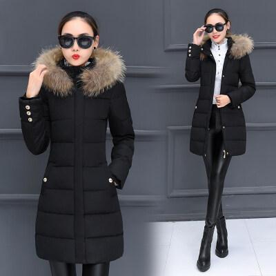 8613女装大毛领中长款加厚棉衣外套冬装