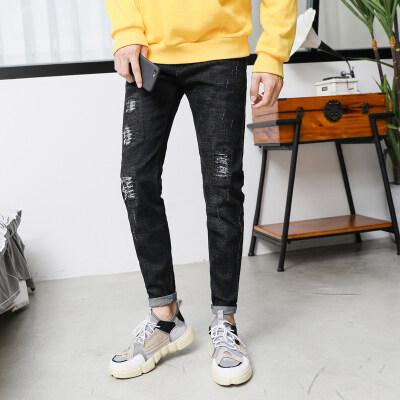 2019新款牛仔裤男修身超韩版潮流小脚男裤青少年休闲新款