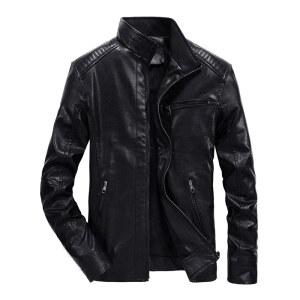 秋冬男士休闲皮衣修身大码薄款皮夹克黑色简约立领PU皮外套男装