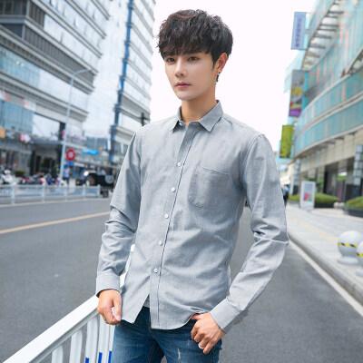 秋季男长袖衬衫青年韩版修身休闲寸潮流衬衣