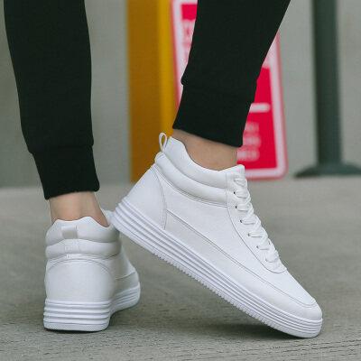 满足【8833】高帮小白鞋板鞋39-44批35可加增高垫当增