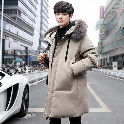 2020冬季男士新款连帽加厚外套韩版可拆卸大毛领长款羽绒服男