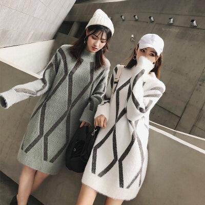 女装网红小清新毛衣新款貂毛甜美百搭冬季毛衣女中长款韩版