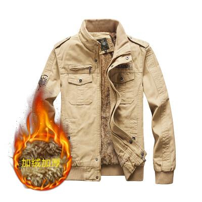 跨境专供M-6XL大码夹克水洗棉军旅工装加绒加厚夹克男外套