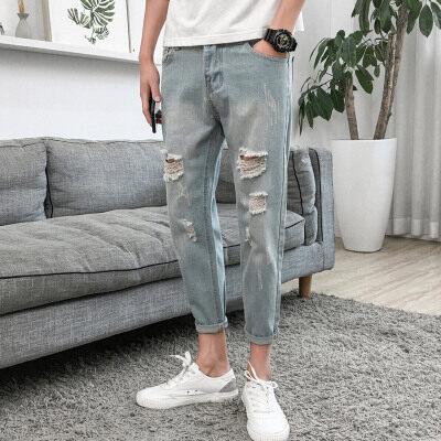 2018春季新款破洞九分牛仔裤