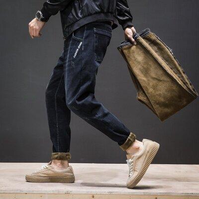 主推款 加绒哈伦牛仔裤Y826+ 黑灰 深蓝