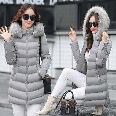 图荣中长款羽绒棉服连帽棉衣女冬季新款棉袄韩版时尚修身毛领外套