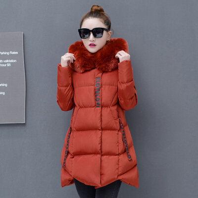 图荣冬季款羽绒棉服女韩版时尚可拆卸连帽中长款棉衣外套一件代发