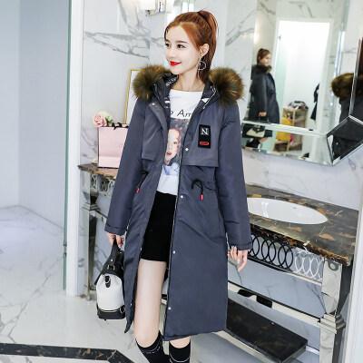 图荣chic中长款棉服女冬季韩版加厚宽松两面穿大毛领过膝外套