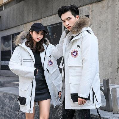 高绒款 情侣款冬季新款羽绒服男士女中长款韩版青年毛领连帽外套