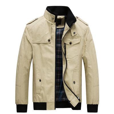 跨境专供士夹克春秋季中年立领纯棉爸爸装加绒休闲男装薄款外套