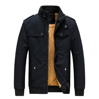 跨境专供冬季水洗纯棉加绒厚夹克衣服男士机车外套工装多口袋