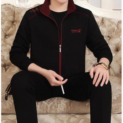 厂家直供 2019春秋棉质中老年休闲运动套装男士爸爸装两件套