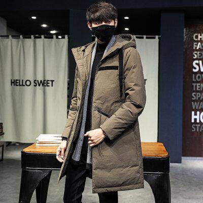 2020连帽羽绒服男中长款男士休闲修身冬加厚帅气潮流保暖外套