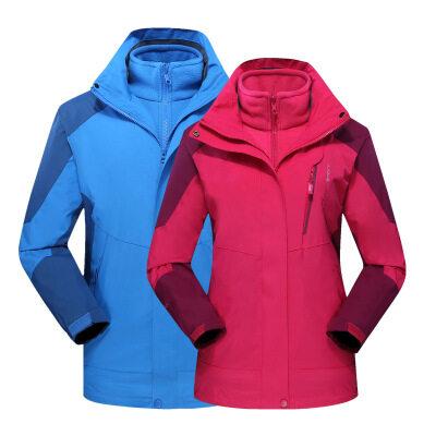 厂家直销秋冬季新款户外冲锋衣男三合一两件套防风防水情侣登山服