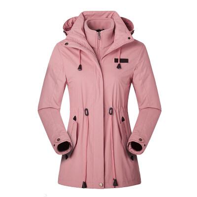 户外冲锋衣女三合一中长款可拆卸两件套冬季加绒加厚潮牌外套